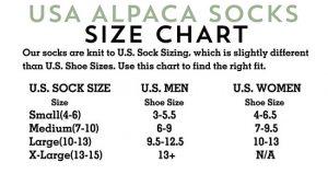 Alpaca Sock Size Chart